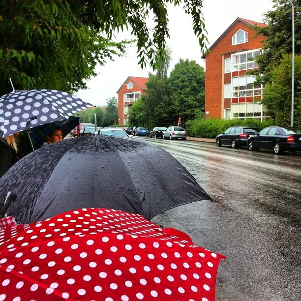 Paraplyparad på busshållplatsen